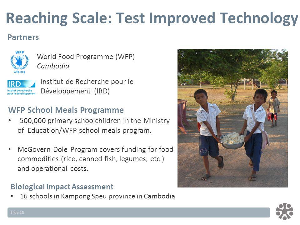 Slide 15 Partners Institut de Recherche pour le Développement (IRD) WFP School Meals Programme 5 00,000 primary schoolchildren in the Ministry of Education/WFP school meals program.