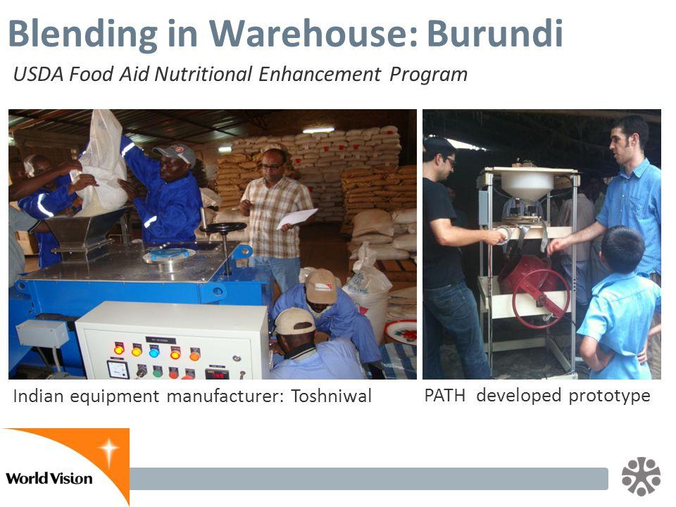 Slide 19 Blending in Warehouse: Burundi USDA Food Aid Nutritional Enhancement Program Indian equipment manufacturer: Toshniwal PATH developed prototype