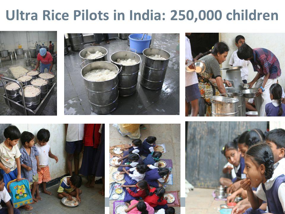 Slide 9 Ultra Rice Pilots in India: 250,000 children