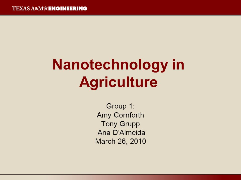 Nanotechnology in Agriculture Group 1: Amy Cornforth Tony Grupp Ana D'Almeida March 26, 2010