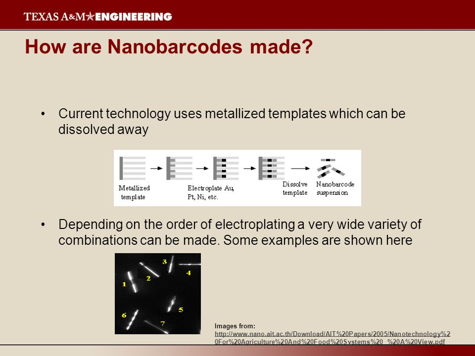 How are Nanobarcodes made? Current technology uses metallized templates which can be dissolved away Depending on the order of electroplating a very wi