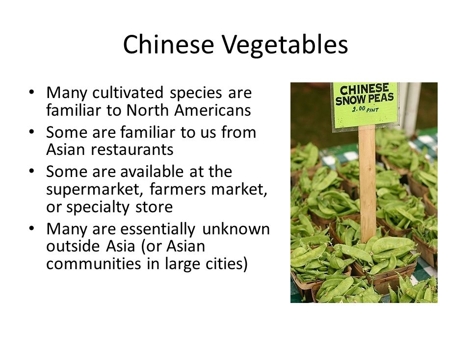 Chinese Vegetables Many cultivated species are familiar to North Americans Some are familiar to us from Asian restaurants Some are available at the su