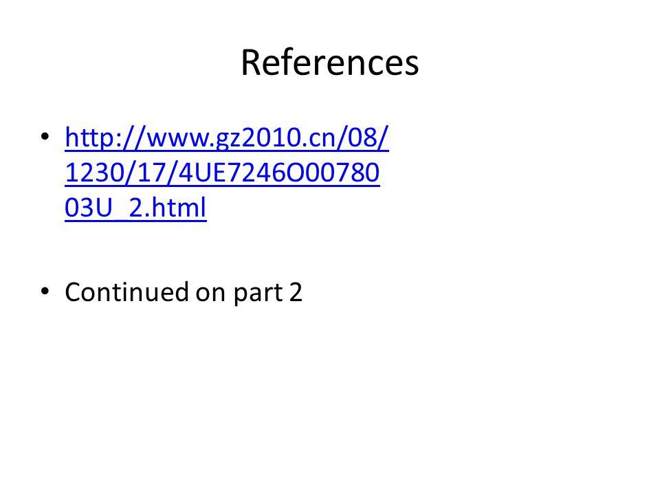 References http://www.gz2010.cn/08/ 1230/17/4UE7246O00780 03U_2.html http://www.gz2010.cn/08/ 1230/17/4UE7246O00780 03U_2.html Continued on part 2