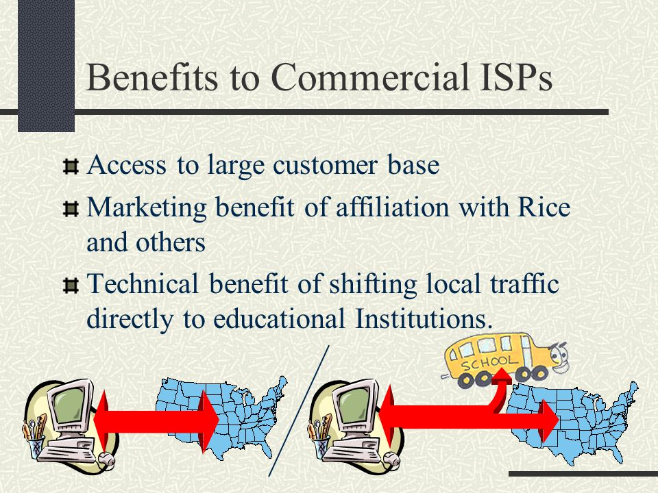 Benefits to Commercial ISPs Access to large customer base Marketing benefit of affiliation with Rice and others Technical benefit of shifting local traffic directly to educational Institutions.