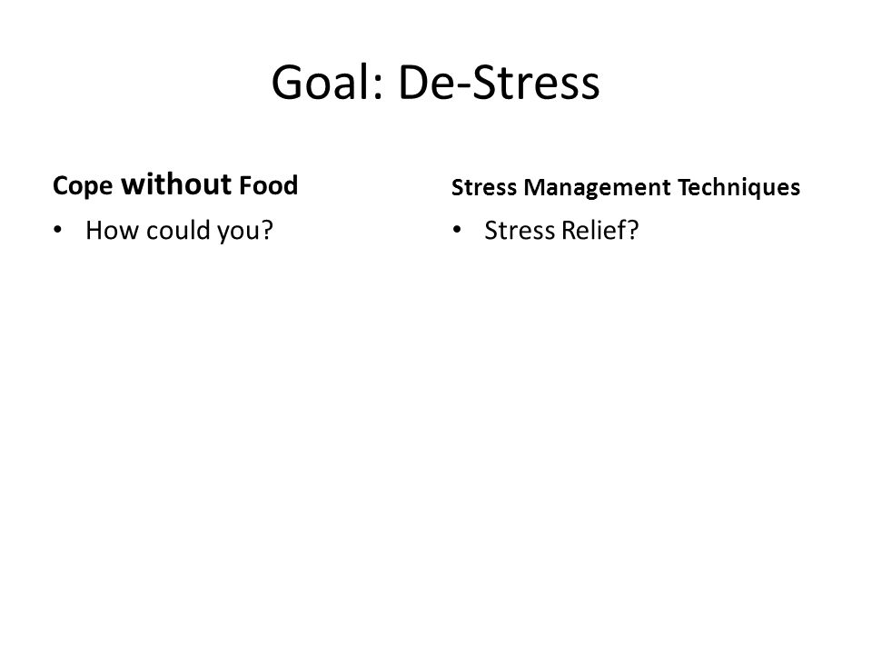 Goal: De-Stress Cope without Food How could you Stress Management Techniques Stress Relief