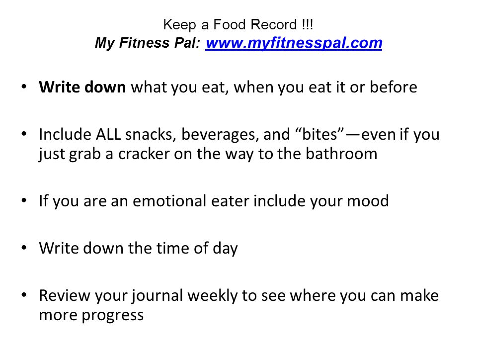 Keep a Food Record !!.