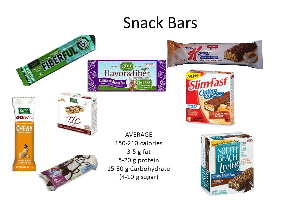 Snack Bars AVERAGE 150-210 calories 3-5 g fat 5-20 g protein 15-30 g Carbohydrate (4-10 g sugar)
