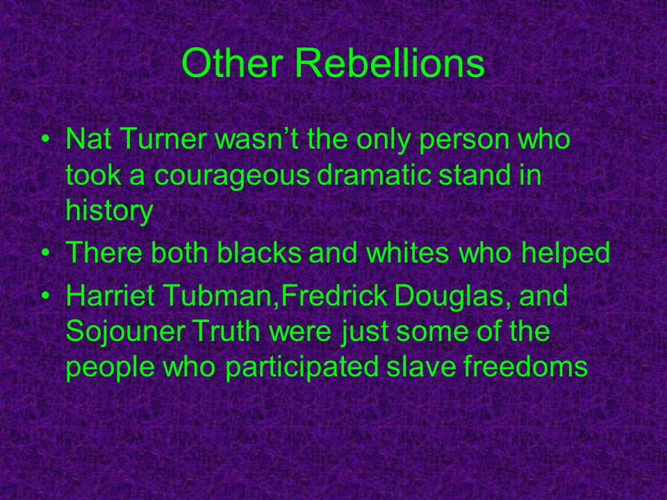 Other Rebellions Nat Turner wasn't the only person who took a courageous dramatic stand in history There both blacks and whites who helped Harriet Tub