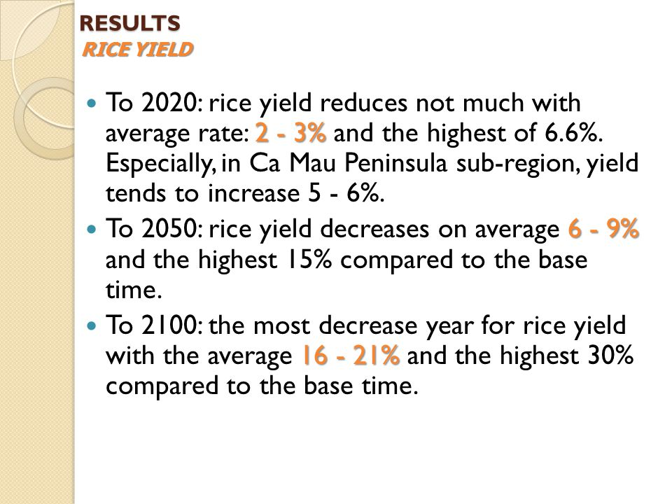 2 - 3% To 2020: rice yield reduces not much with average rate: 2 - 3% and the highest of 6.6%.