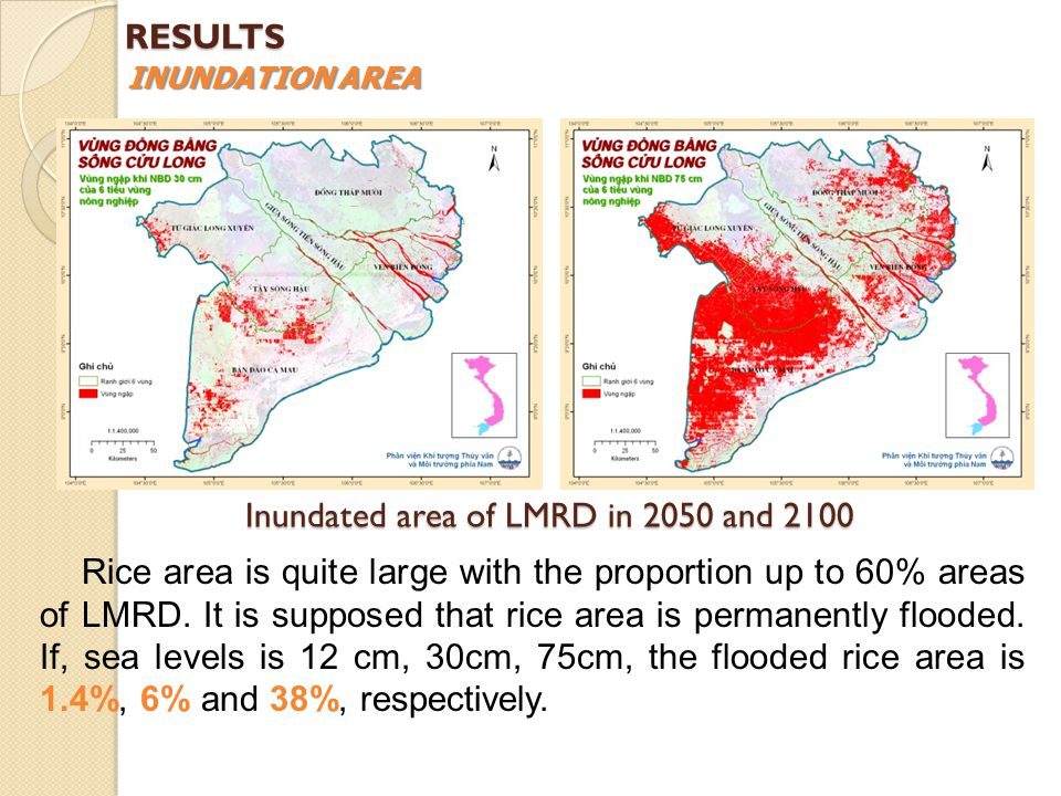 Inundated area of LMRD in 2050 and 2100 Rice area is quite large with the proportion up to 60% areas of LMRD.