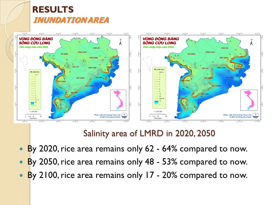 Salinity area of LMRD in 2020, 2050 By 2020, rice area remains only 62 - 64% compared to now.