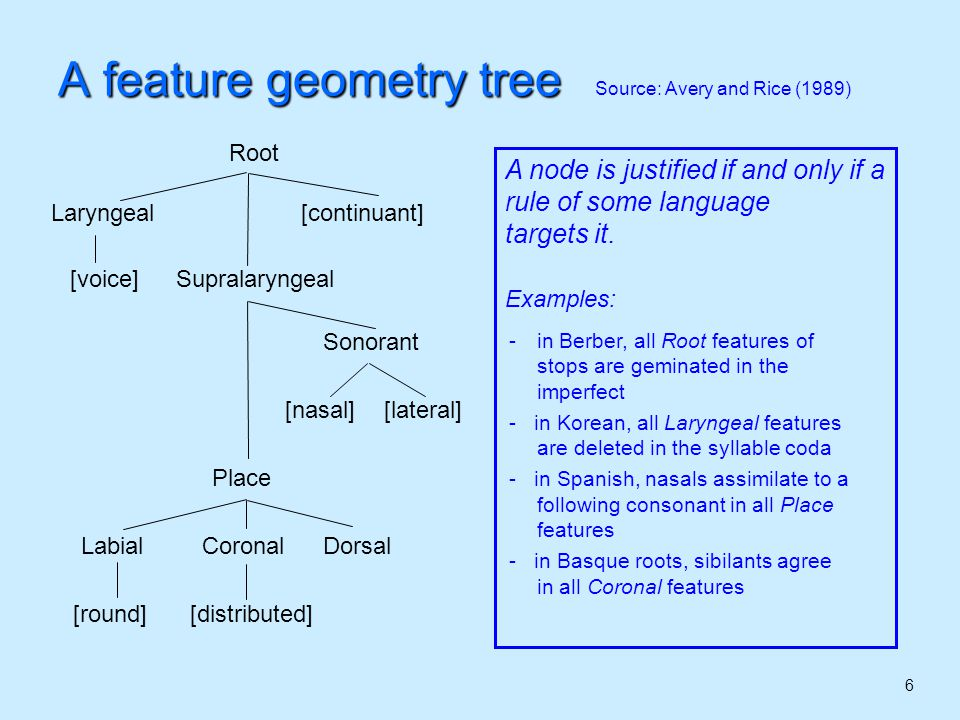 7 A feature geometry tree Source: Avery and Rice (1989) Constraint on rules Any rule may operate on one and only one node in the tree For example, a rule may target the Place node, spreading it to a neighboring segment, or deleting it.