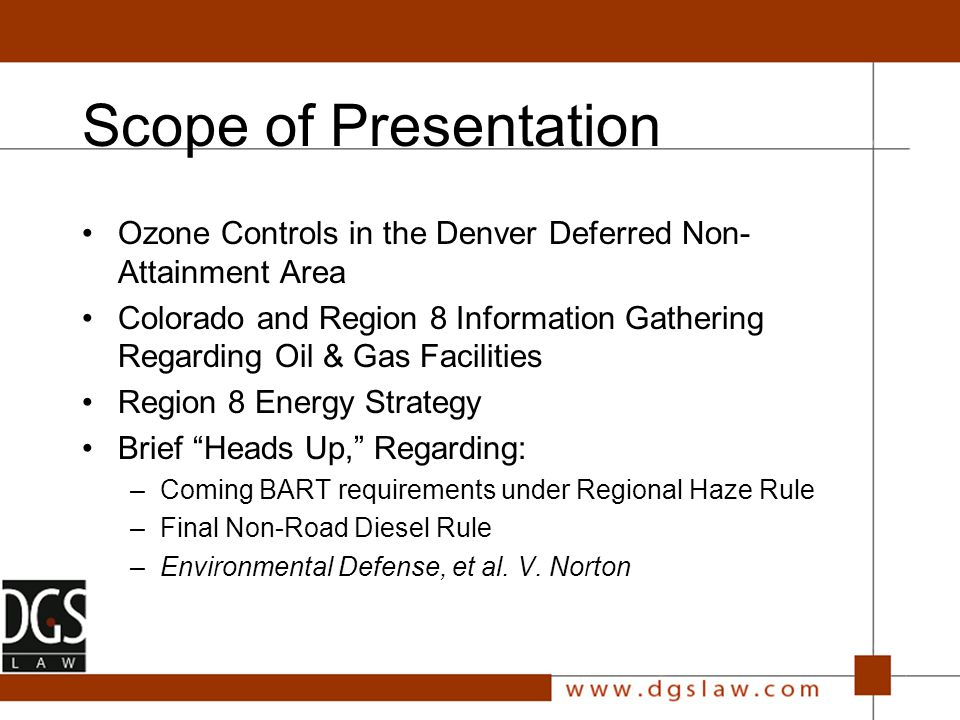 Ozone Controls in Colorado Denver area made progress under old 1-hour ozone standard (NAAQS), moving from non-attainment to attainment In 1997, EPA changed how it measures ground-level ozone, and promulgated the current 8-hour standard of.080 ppm Biogenic and upwind sources of ozone contribute 55- 65 ppb of the ozone measured by regional monitors