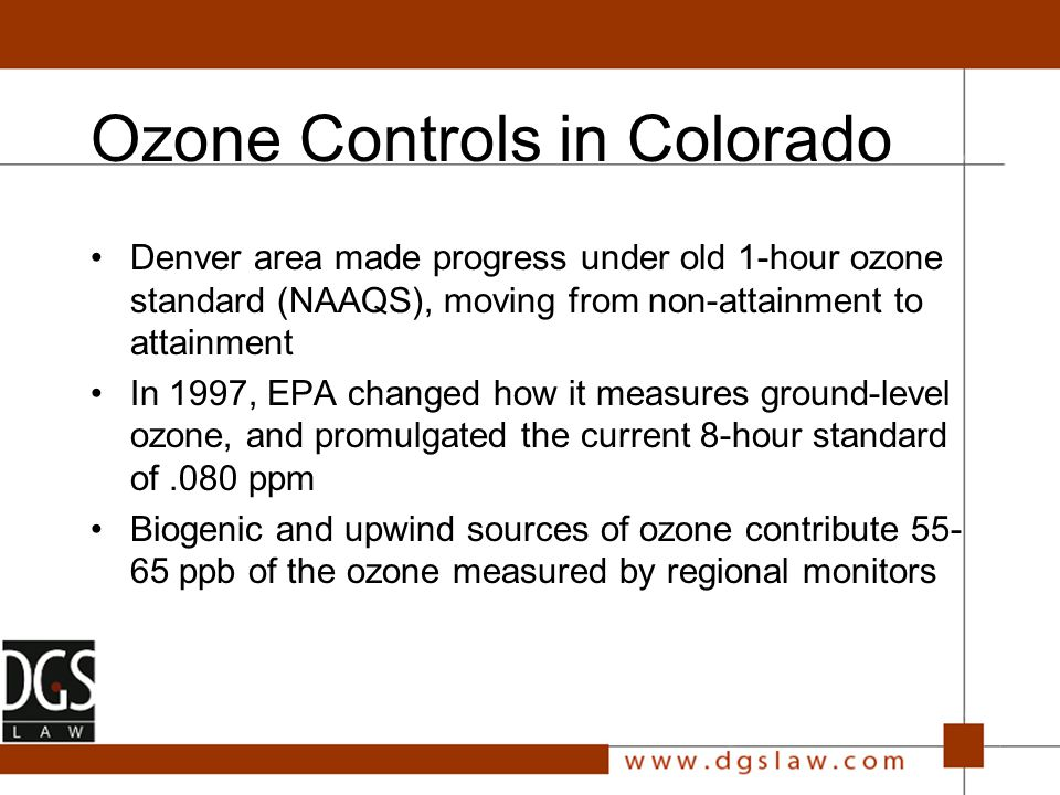 PM Standards Reveiw CASAC review of EPA staff paper Denver and all of Colorado well below existing standards Denver barely below possible lowered standard Not just an urban issue Final staff paper due out in September Proposed rule changes due out by March 31, 2005