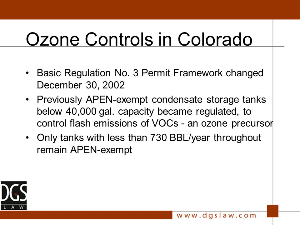 Ozone Control Plan Developed Based on EPA-required air modeling, prepared for CDPHE and the RAQC by Environ Confirmed a number of things about ozone formation in Denver: –Area is NOx limited, i.e., NOx reductions will contribute to O 3 formation in urban core –Key to meeting standard is improvement at the Rocky Flats monitor