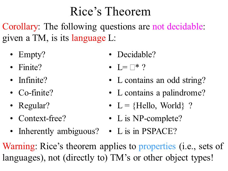Rice's Theorem Empty.Finite. Infinite. Co-finite.