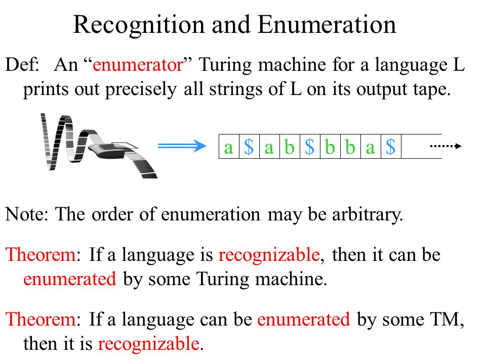 Recognition and Enumeration Theorem: If a language is recognizable, then it can be enumerated by some Turing machine.