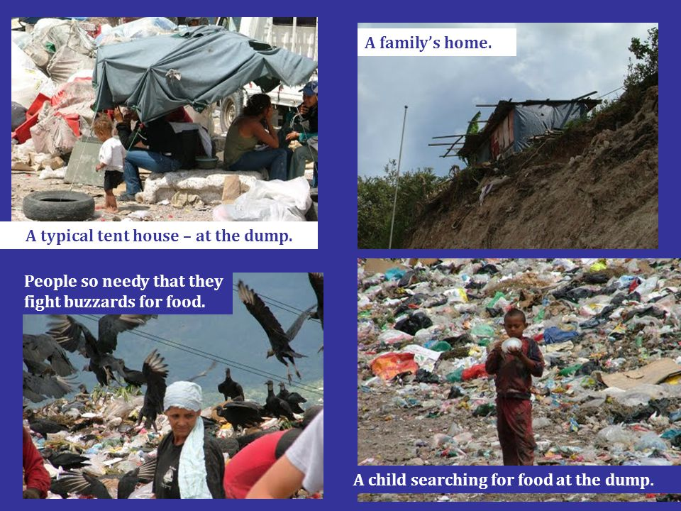A typical tent house – at the dump. A family's home. People so needy that they fight buzzards for food. A child searching for food at the dump.