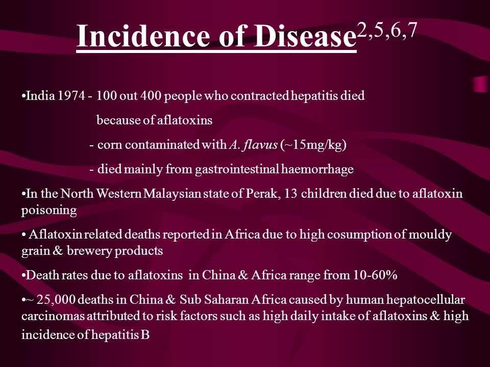 Incidence of Disease 2,5,6,7 India 1974 - 100 out 400 people who contracted hepatitis died because of aflatoxins - corn contaminated with A. flavus (~