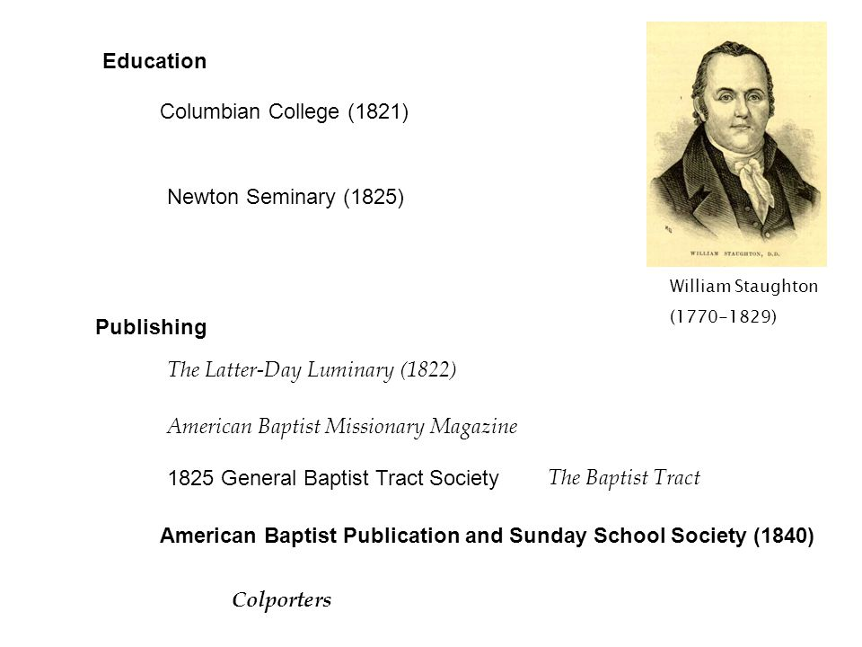 Education Columbian College (1821) William Staughton (1770-1829) Newton Seminary (1825) Publishing The Latter-Day Luminary (1822) American Baptist Mis