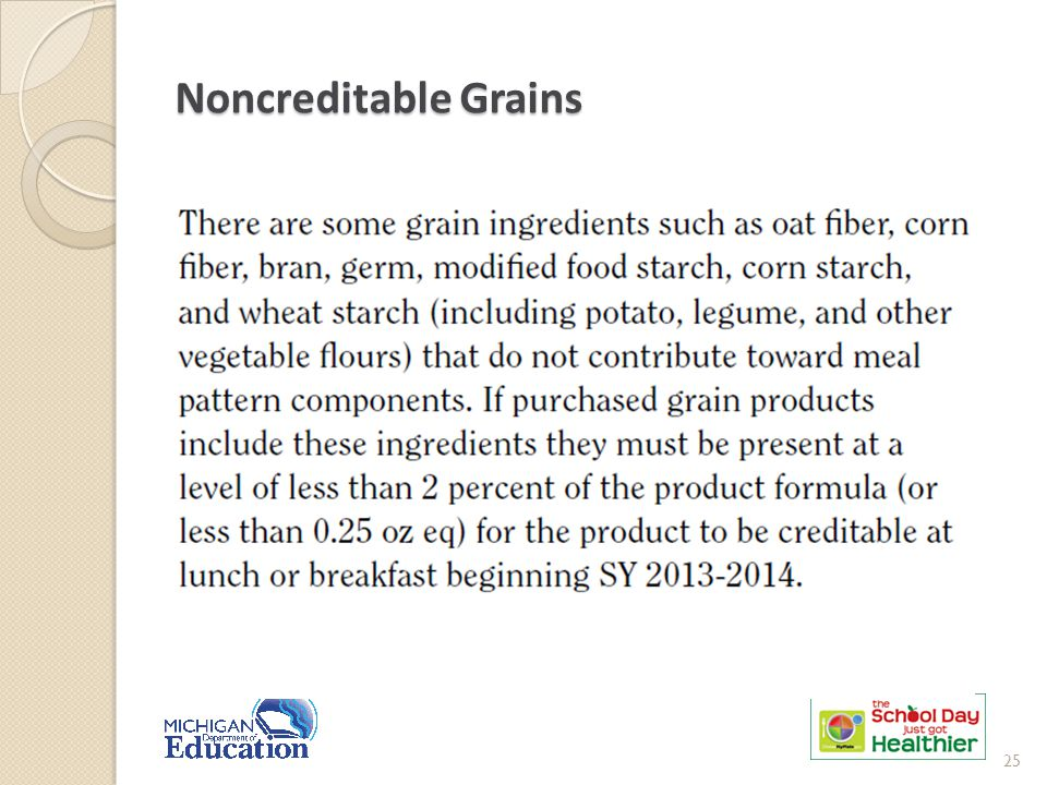 Noncreditable Grains 25