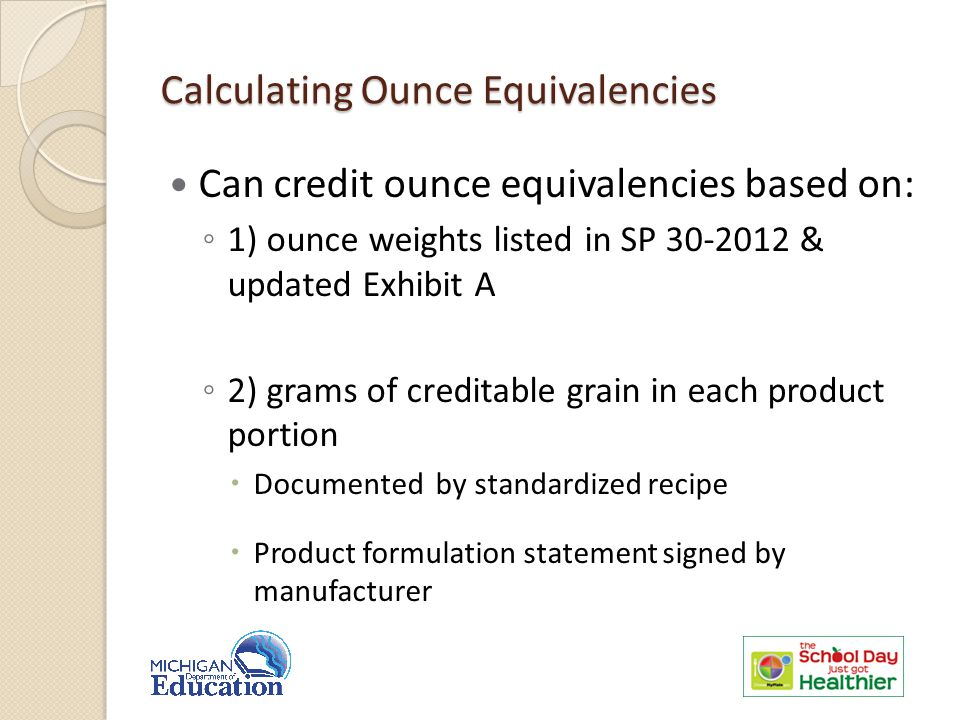 Calculating Ounce Equivalencies Can credit ounce equivalencies based on: ◦ 1) ounce weights listed in SP 30-2012 & updated Exhibit A ◦ 2) grams of creditable grain in each product portion  Documented by standardized recipe  Product formulation statement signed by manufacturer