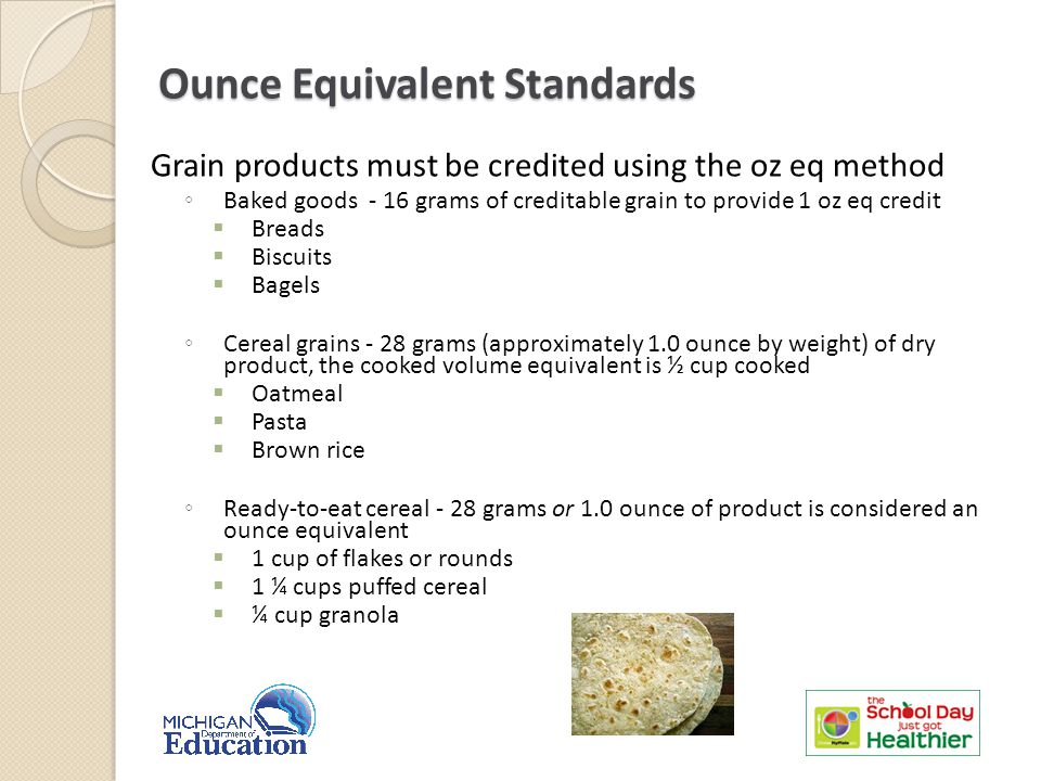 Grain products must be credited using the oz eq method ◦ Baked goods - 16 grams of creditable grain to provide 1 oz eq credit  Breads  Biscuits  Bagels ◦ Cereal grains - 28 grams (approximately 1.0 ounce by weight) of dry product, the cooked volume equivalent is ½ cup cooked  Oatmeal  Pasta  Brown rice ◦ Ready-to-eat cereal - 28 grams or 1.0 ounce of product is considered an ounce equivalent  1 cup of flakes or rounds  1 ¼ cups puffed cereal  ¼ cup granola Ounce Equivalent Standards 8
