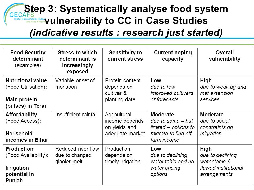 Step 3: Systematically analyse food system vulnerability to CC in Case Studies (indicative results : research just started) Food Security determinant