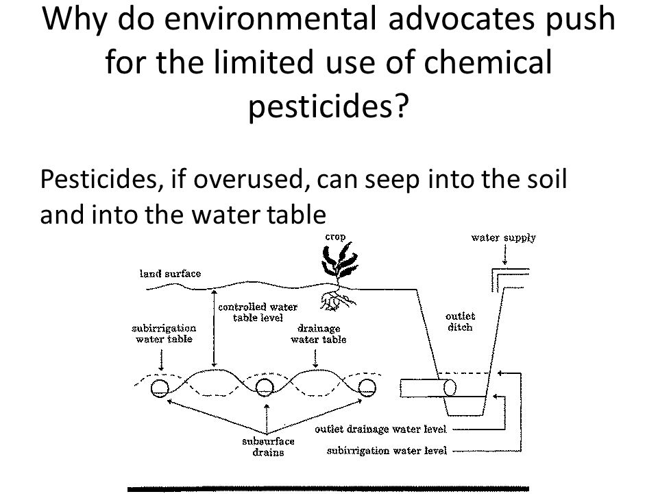 Why do environmental advocates push for the limited use of chemical pesticides.