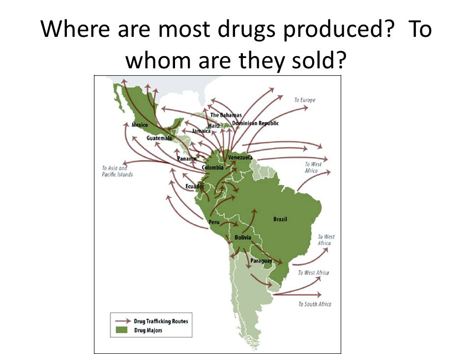 Where are most drugs produced To whom are they sold