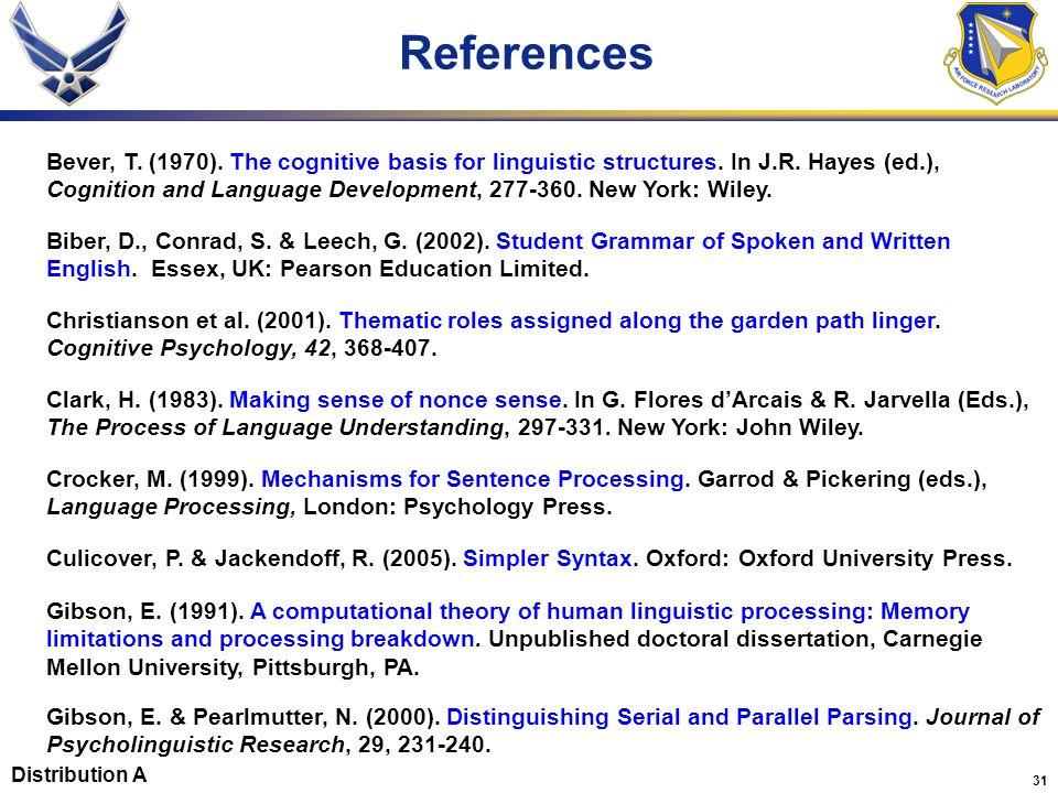 31 Crocker, M. (1999). Mechanisms for Sentence Processing.