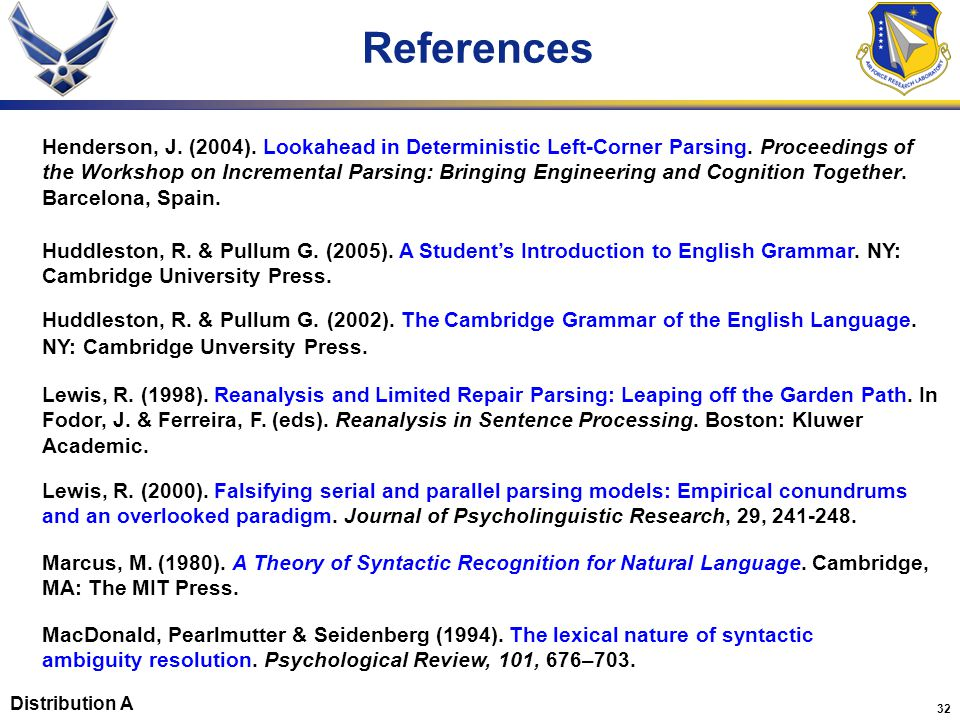 32 References Lewis, R. (1998). Reanalysis and Limited Repair Parsing: Leaping off the Garden Path. In Fodor, J. & Ferreira, F. (eds). Reanalysis in S