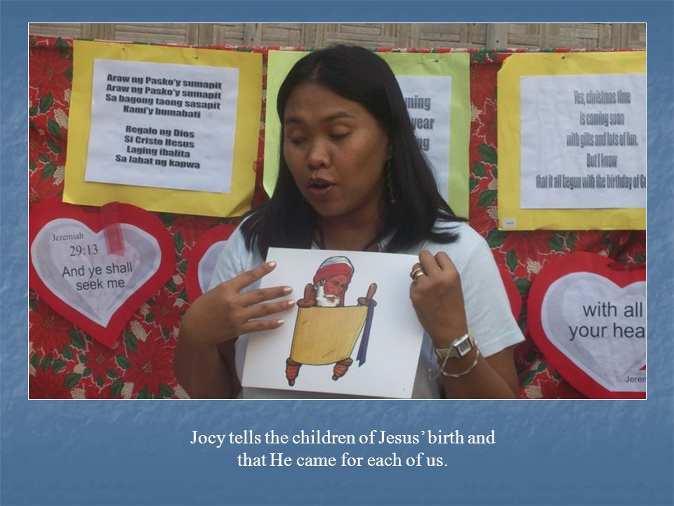 Jocy tells the children of Jesus' birth and that He came for each of us.