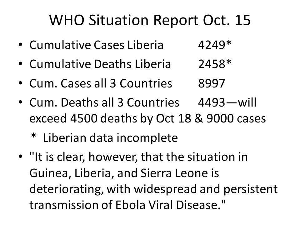 WHO Situation Report Oct. 15 Cumulative Cases Liberia4249* Cumulative Deaths Liberia2458* Cum.