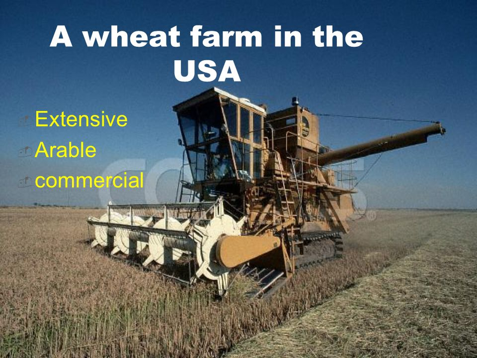 A wheat farm in the USA  Extensive  Arable  commercial