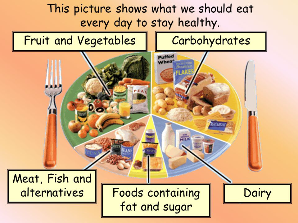 This picture shows what we should eat every day to stay healthy.