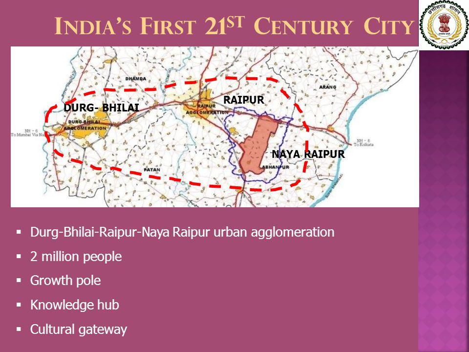 I NDIA ' S F IRST 21 ST C ENTURY C ITY NAYA RAIPUR RAIPUR DURG- BHILAI  Durg-Bhilai-Raipur-Naya Raipur urban agglomeration  2 million people  Growth pole  Knowledge hub  Cultural gateway