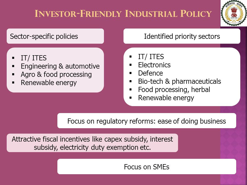 I NVESTOR -F RIENDLY I NDUSTRIAL P OLICY Focus on regulatory reforms: ease of doing business Attractive fiscal incentives like capex subsidy, interest subsidy, electricity duty exemption etc.