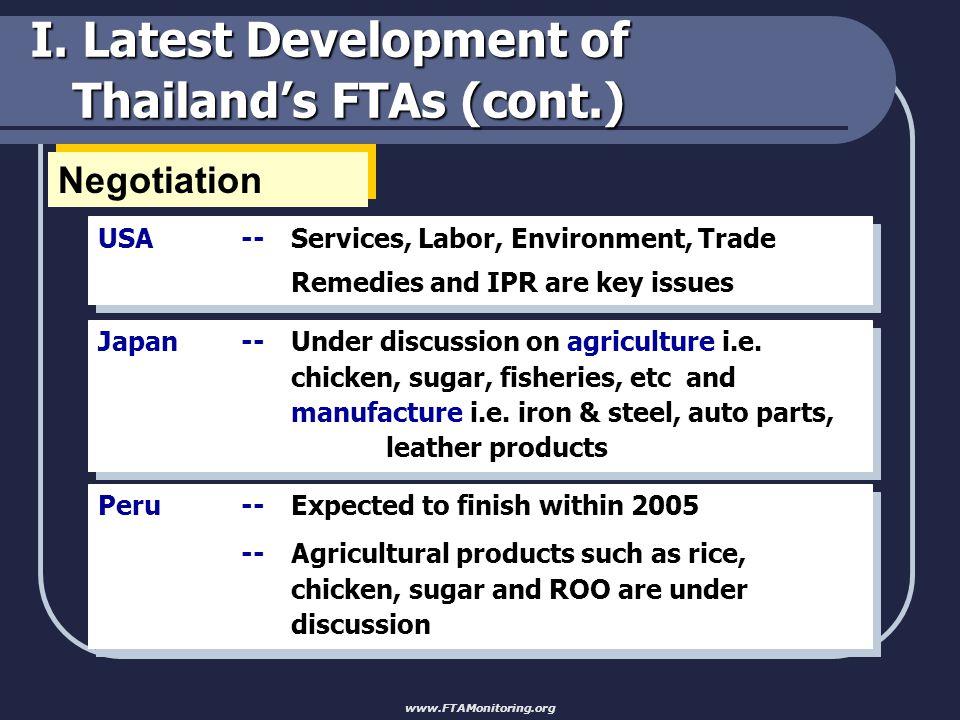 I. Latest Development of Thailand's FTAs (cont.) Initiation EFTA Pakistan www.FTAMonitoring.org