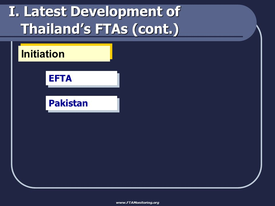 I. Latest Development of Thailand's FTAs (cont.) Initiation EFTA Pakistan www.FTAMonitoring.org