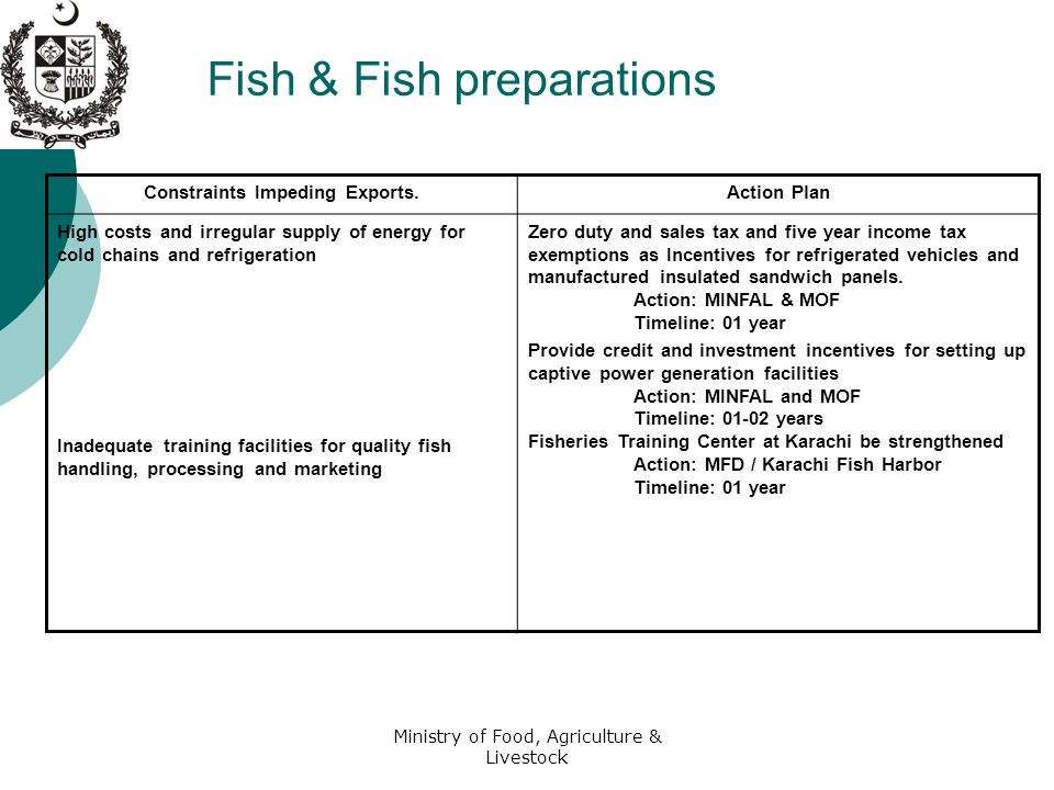 Ministry of Food, Agriculture & Livestock Fish & Fish preparations Constraints Impeding Exports.Action Plan High costs and irregular supply of energy for cold chains and refrigeration Inadequate training facilities for quality fish handling, processing and marketing Zero duty and sales tax and five year income tax exemptions as Incentives for refrigerated vehicles and manufactured insulated sandwich panels.