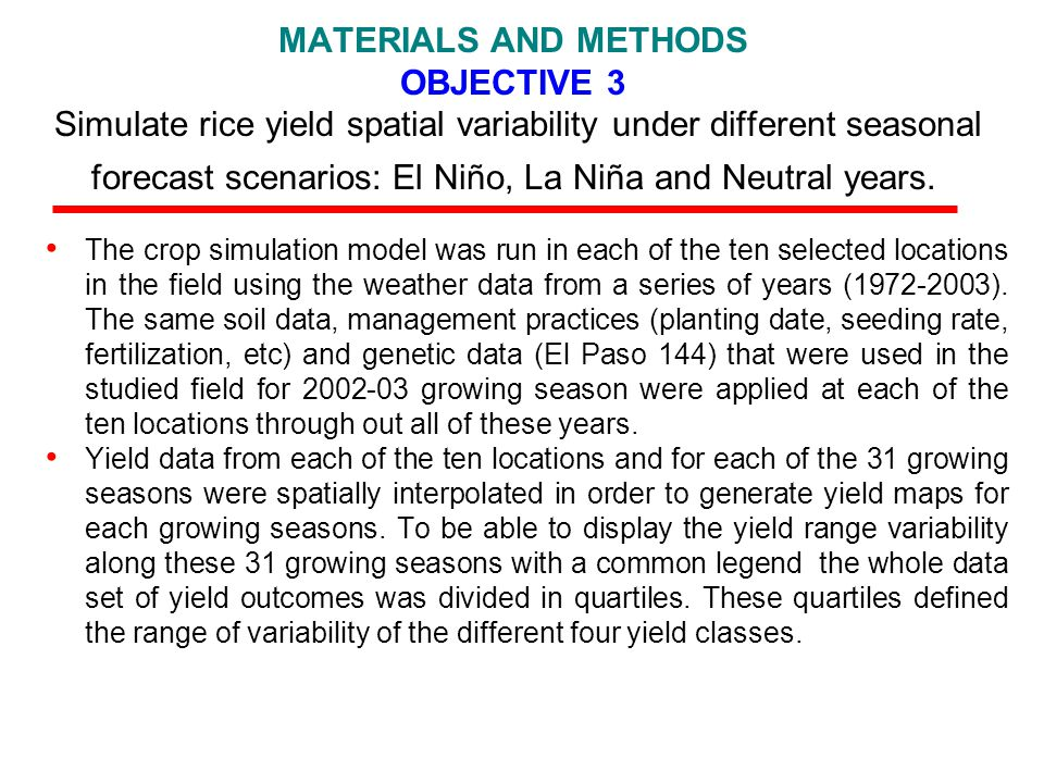 MATERIALS AND METHODS OBJECTIVE 3 Simulate rice yield spatial variability under different seasonal forecast scenarios: El Niño, La Niña and Neutral years.