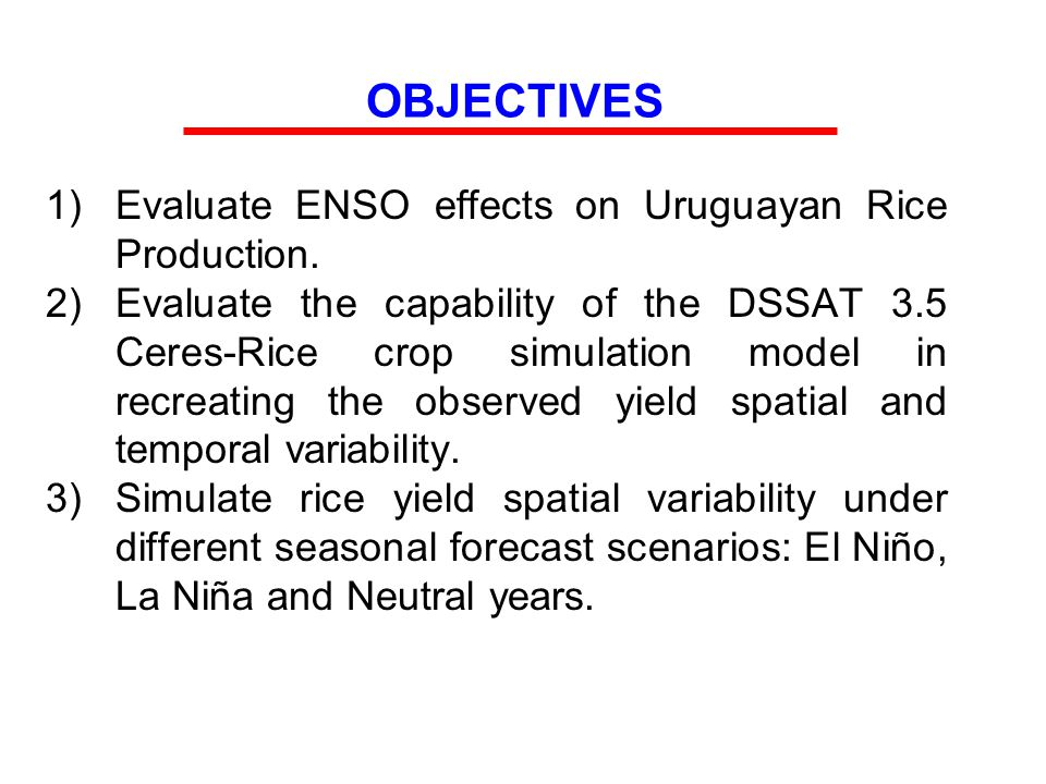 OBJECTIVES 1)Evaluate ENSO effects on Uruguayan Rice Production.