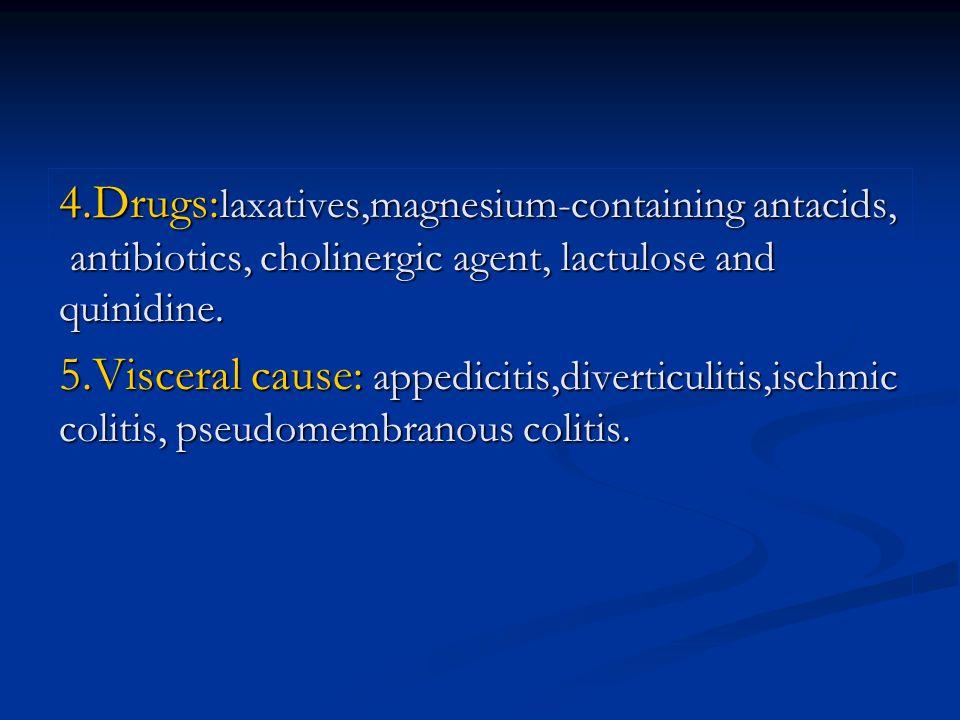 4.Drugs: laxatives,magnesium-containing antacids, antibiotics, cholinergic agent, lactulose and quinidine.