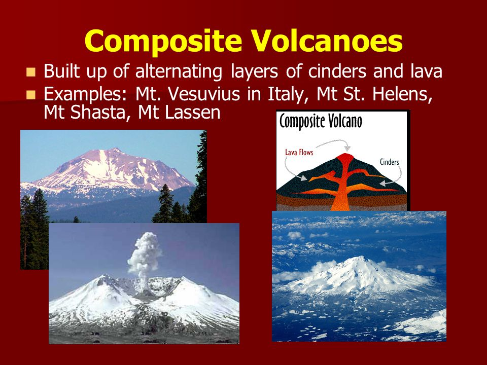 Composite Volcanoes Built up of alternating layers of cinders and lava Examples: Mt.