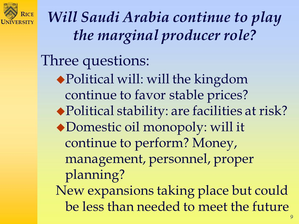9 R ICE U NIVERSITY Will Saudi Arabia continue to play the marginal producer role.