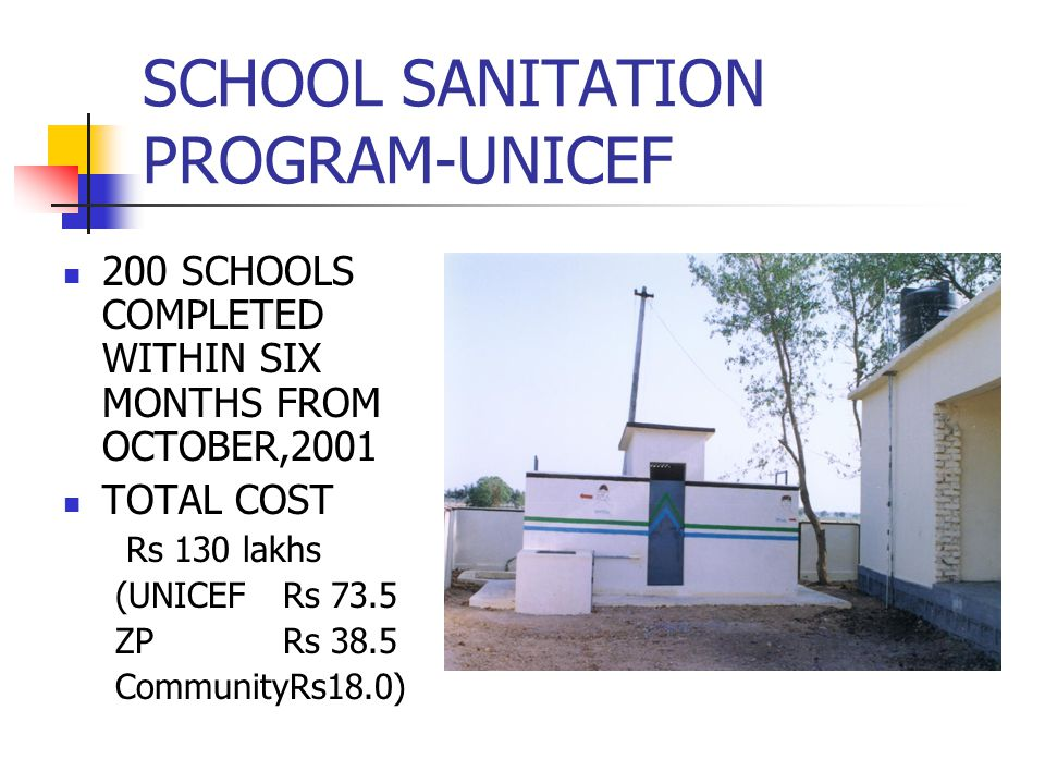SCHOOL SANITATION PROGRAM-UNICEF 200 SCHOOLS COMPLETED WITHIN SIX MONTHS FROM OCTOBER,2001 TOTAL COST Rs 130 lakhs (UNICEF Rs 73.5 ZP Rs 38.5 CommunityRs18.0)