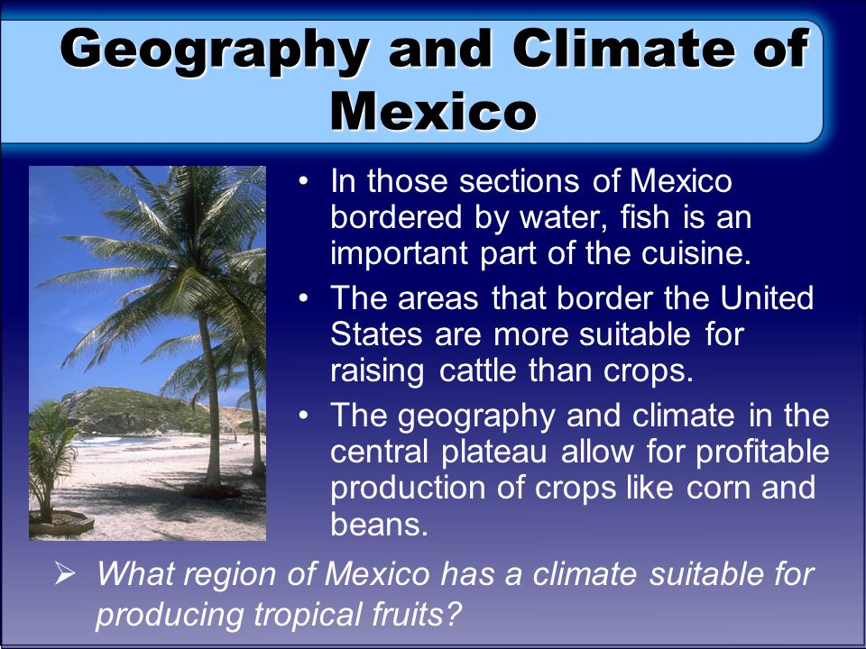 Geography and Climate of Mexico In those sections of Mexico bordered by water, fish is an important part of the cuisine.