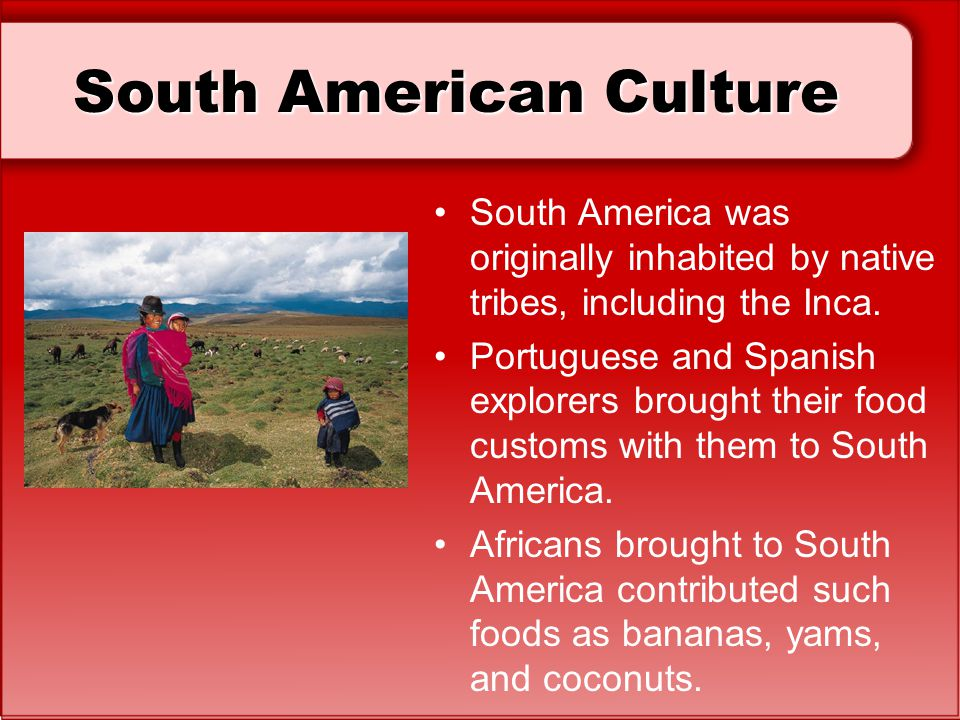 South American Culture South America was originally inhabited by native tribes, including the Inca. Portuguese and Spanish explorers brought their foo