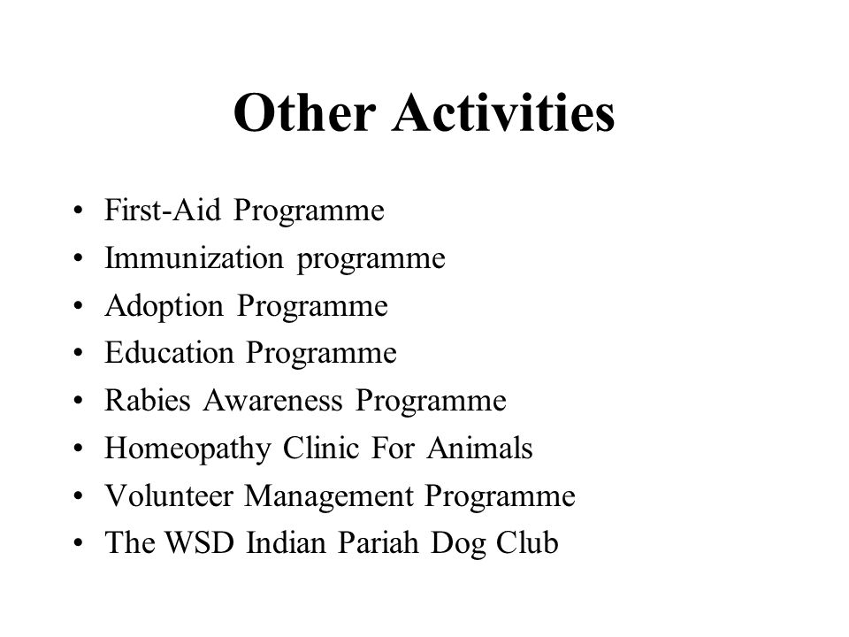 Other Activities First-Aid Programme Immunization programme Adoption Programme Education Programme Rabies Awareness Programme Homeopathy Clinic For Animals Volunteer Management Programme The WSD Indian Pariah Dog Club